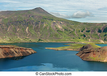 Lake in Caldera volcano Ksudach. South Kamchatka Nature...