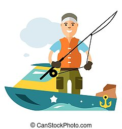 Vector Fishing man. Flat style colorful Cartoon...