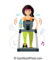 Vector Pretty woman running on a treadmill. Fitness sporty lady working out. Flat style colorful Cartoon illustration.