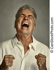 Angry screaming man. - Angry frustrated senior man. People...