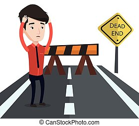 Businessman looking at road sign dead end. - Businessman...