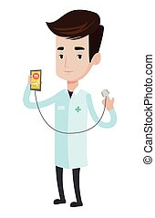 Doctor showing app for measuring heart pulse. - Doctor...