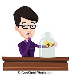 Bankrupt businessman looking at empty glass jar. - Worried...