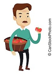 Farmer collecting tomatos vector illustration. - An adult...