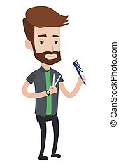 Barber holding comb and scissors in hands. - Full length of...