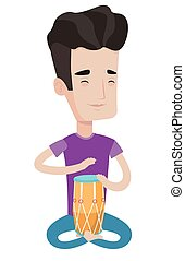 Man playing ethnic drum vector illustration. - Young pleased...
