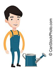 Farmer with watering can vector illustration. - A happy...