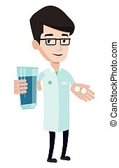 Pharmacist giving pills and glass of water. - Young...