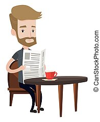 Man reading newspaper and drinking coffee. - Hipster man...