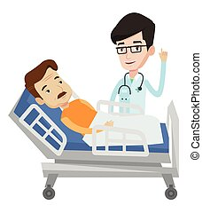 Doctor visiting patient vector illustration. - Doctor...