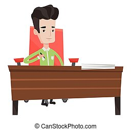 Signing of business contract vector illustration.