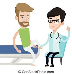 Gym doctor checking ankle of a patient. - Physio therapist...