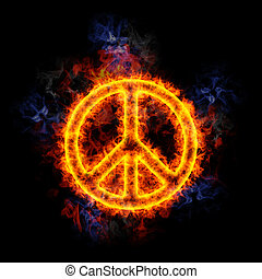 Fiery peace sign. - Peace sign, covered in flames.