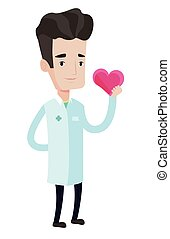 Doctor cardiologist holding heart. - Cardiologist in uniform...