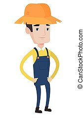 Proud caucasian farmer vector illustration. - Proud...