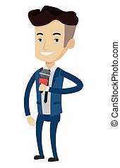 TV reporter with microphone vector illustration. - Cheerful...