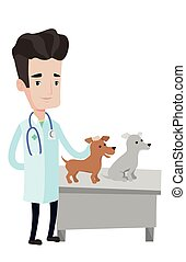 Veterinarian examining dogs vector illustration. - Young...
