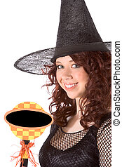 Halloween girl with blank copyspace sign