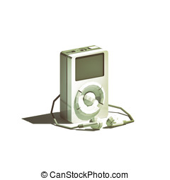 iPod isolated on white background - Low poly iPod isolated...