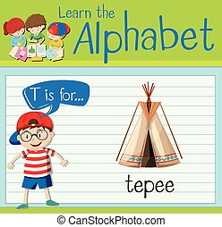 Flashcard letter T is for teepee illustration