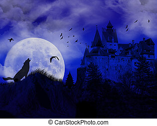 blue sunset on scarry place with wolf howling at moon and...
