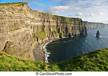 late evening sunset famous irish cliffs of moher
