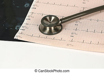 medical test - Doctor\'s stethoscope and chart a patient\'s...