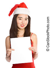 Young Asian Mrs. Santa with blank paper template
