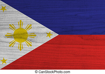 Philippines Flag painted on old wood background