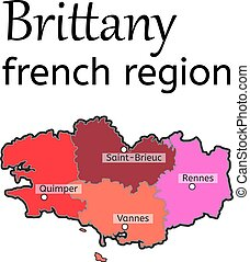 Brittany french region map on white in vector