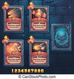 Set spell cards of meteorite, fiery gaze, firestorm, fire...