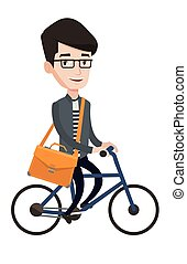 Businessman riding bicycle vector illustration.