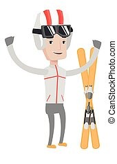 Cheerful skier standing with raised hands. - Caucasian...