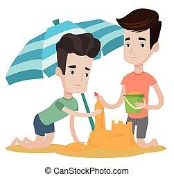 Male friends building sandcastle. - Young caucasian friends...