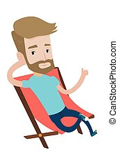 Young tourist sitting in folding chair. - Hipster tourist...