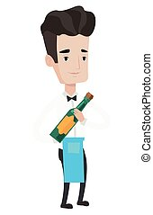 Waiter holding bottle of alcohol. - Young waiter holding a...