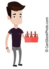 Man with pack of beer vector illustration.