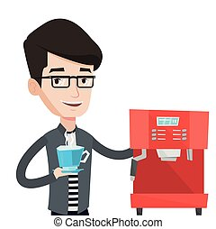 Man making coffee vector illustration. - Caucasian man...