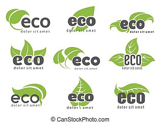 Eco and nature logo labels with green leaves isolated on...