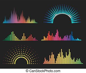 Music digital waveforms. Equalizer sound waves vector...