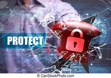 proteggere, tecnologia, affari, sicurezza,  internet, rete