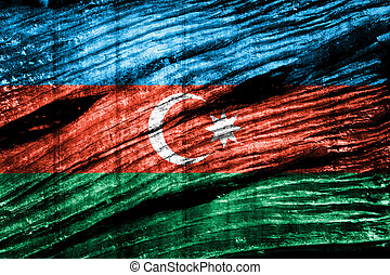 Azerbaijan flag painted on wood background