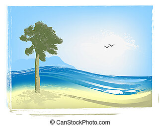 Illustrated seascape with palm trees, sea and seagulls
