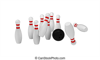 Bowling skittles and ball - White skittles and black ball...