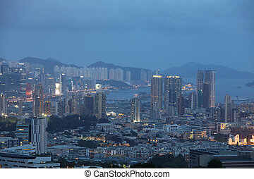 Kowloon at night of resident building - Vertical...