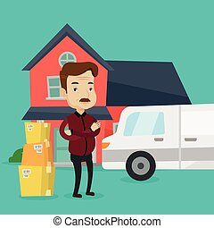 Man moving to house vector illustration. - An adult man...