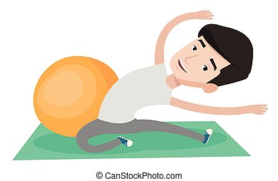 Young man exercising with fitball. - Young caucasian man...
