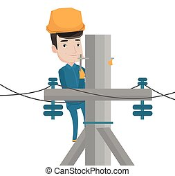 Electrician working on electric power pole. - Caucasian...