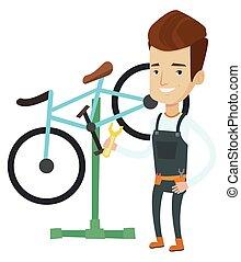 Caucasian bicycle mechanic working in repair shop. -...