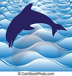 Dolphin - Illustration of dolphins leaping in the open sea...